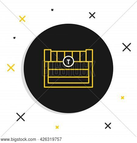 Line Antique Treasure Chest Icon Isolated On White Background. Vintage Wooden Chest With Golden Coin