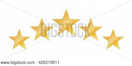 Five Stars Icon. Stars Rating Review Icon For Website And Mobile Apps. On White Background. Vector I