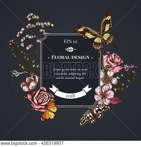 Dark Badge Design With Shepherd S Purse, Heather, Iris Japonica, Sakura, Gypsophila, Almond, Lemon B