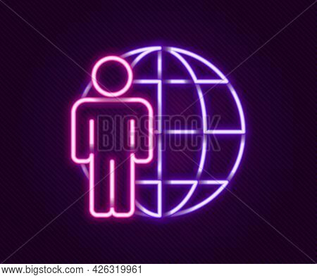 Glowing Neon Line Head Hunting Icon Isolated On Black Background. Business Target Or Employment Sign