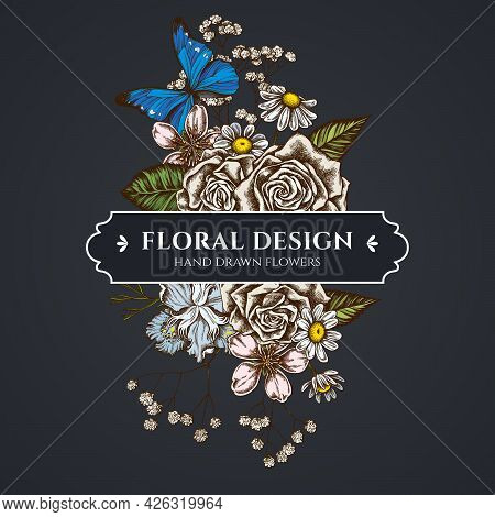 Floral Bouquet Dark Design With Iris Japonica, Gypsophila, Chamomile, Almond, Blue Morpho, Roses Sto
