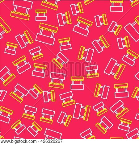 Line Ticket Box Office Icon Isolated Seamless Pattern On Red Background. Ticket Booth For The Sale O