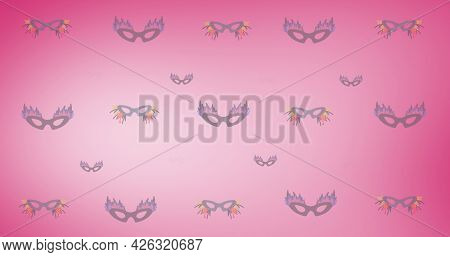 Composition of masquerade masks repeated in rows, on graduated pink background. fashion, beauty and accessories background pattern concept digital animation.
