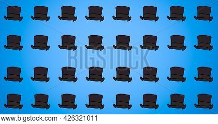 Composition of black top hats repeated in rows, on blue background. fashion, beauty and accessories background pattern concept digital animation.