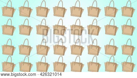 Composition of beige handbags repeated in rows, on graduated pale blue background. fashion, beauty and accessories background pattern concept digital animation.