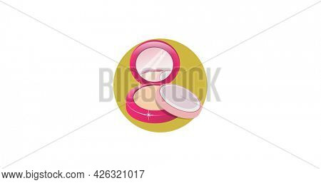 Composition of makeup compact powder in yellow circle, on white background. fashion, beauty and accessories concept digital image.