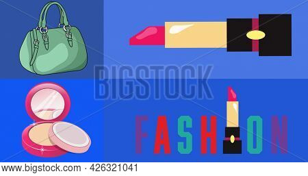 Composition of text, fashion, with makeup and fashion accessories, on four shades of purple. fashion and accessories blogging and social media concept digital image.