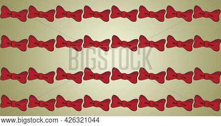 Composition of red bow ties repeated in rows, on beige background. fashion, beauty and accessories background pattern concept digital animation.