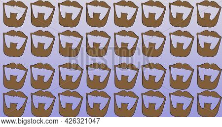 Composition of brown beards repeated in rows, on graduated lilac background. fashion, beauty and accessories background pattern concept digital animation.