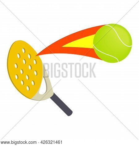 Paddle Tennis Icon Isometric Vector. Paddle Racket, Flying Ball. Yellow Racquet, Tennis Ball