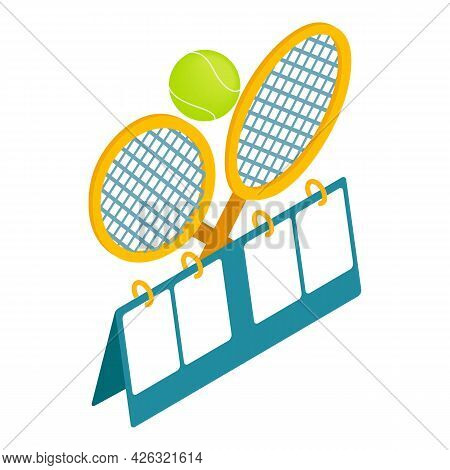 Tennis Competition Icon Isometric Vector. Empty Tennis Scoreboard, Racket, Flying Ball. Sport Concep