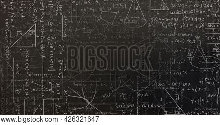 Digital image of mathematical equations and diagrams moving against black background. mathematical information flow concept