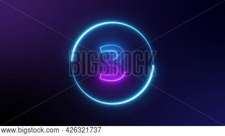 Number 3 Glowing In The Dark, Pink Blue Neon Light. Top Number One Neon Light Bright Glowing. Purple