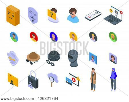 Anonymous Icons Set Isometric Vector. Human Hidden. Icognito Identity