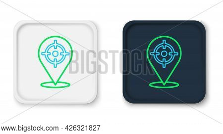 Line Target Sport Icon Isolated On White Background. Clean Target With Numbers For Shooting Range Or