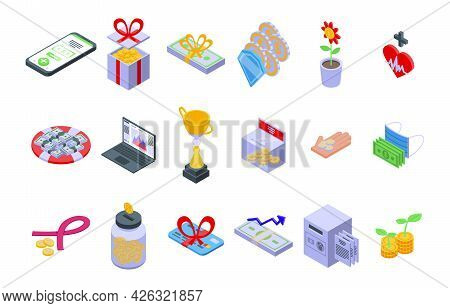 Financial Support Icons Set Isometric Vector. Finance Advice. Business Help