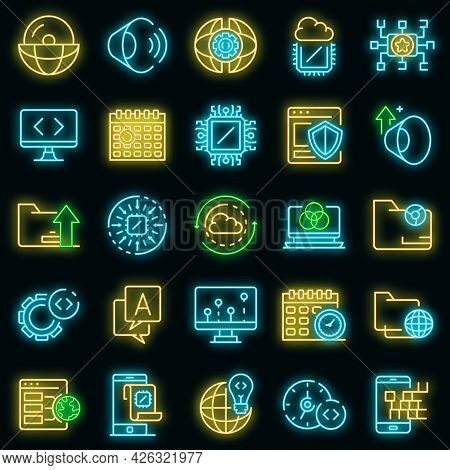 Operating System Icons Set. Outline Set Of Operating System Vector Icons Neon Color On Black