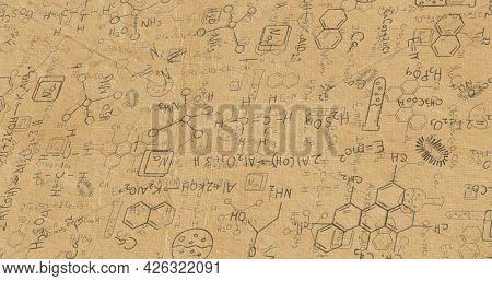 Image of black structural formulae of chemical compounds on paper. education science research knowledge concept digitally generated image.