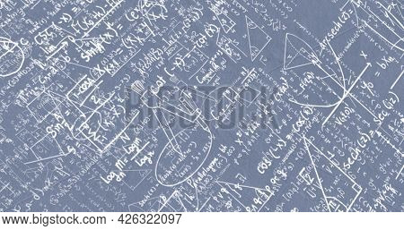 Image of white mathematical formulae and geometric drawings on grey. education science research knowledge concept digitally generated image.