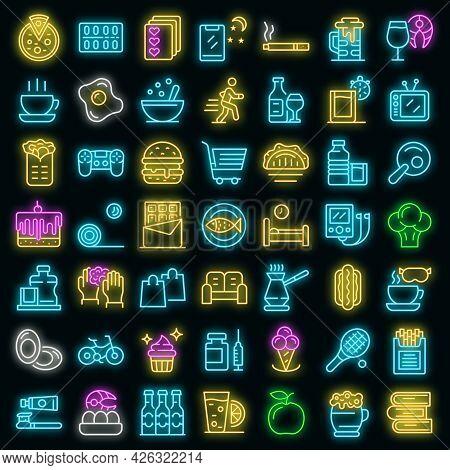 Habit Icons Set. Outline Set Of Habit Vector Icons Neon Color On Black