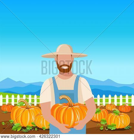 A Happy Farmer In A Straw Hat With A Large Pumpkin In His Hands Stands On A Field With Ripe Pumpkins