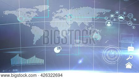 Image of statistics recording and data processing over world map. digital interface connection and communication concept digitally generated image.