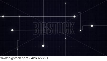 Image of glowing white points with light trails forming grid on black background. digital interface computing concept digitally generated image.