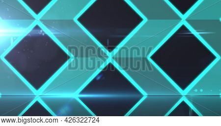 Image of network of glowing green diamond shapes on black background. digital interface concept digitally generated image.