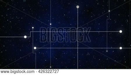 Image of glowing white points with light trails forming grid on night sky with stars. digital interface computing concept digitally generated image.