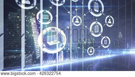 Image of network of connections with digital icons over cityscape. digital interface connection and communication concept digitally generated image.