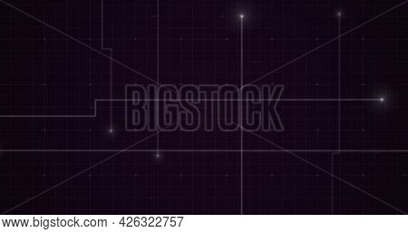 Image of glowing points with light trails forming grid on purple background. digital interface computing concept digitally generated image.