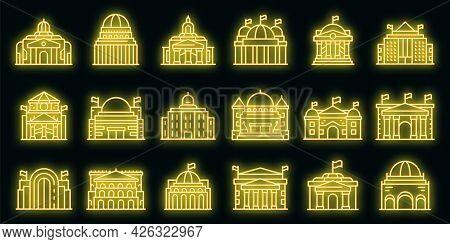 Parliament Icons Set. Outline Set Of Parliament Vector Icons Neon Color On Black