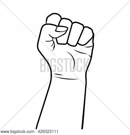 Hand In Fist Black Woman. Feminism. Monochrome Vector Illustration