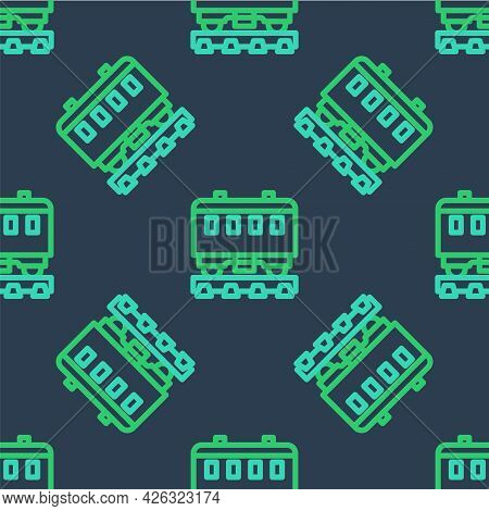 Line Passenger Train Cars Icon Isolated Seamless Pattern On Blue Background. Railway Carriage. Vecto