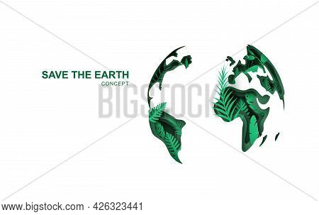 Earth Day. World Environment Day. 3d Paper Cut Eco Friendly Design. Paper Carving Layer Green Leaves