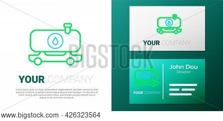 Line Fuel Tanker Truck Icon Isolated On White Background. Gasoline Tanker. Colorful Outline Concept.