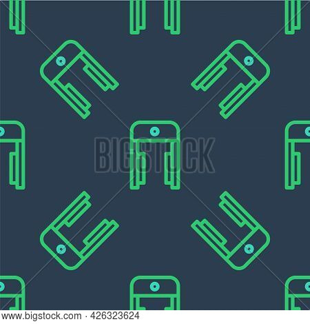 Line Metal Detector In Airport Icon Isolated Seamless Pattern On Blue Background. Airport Security G