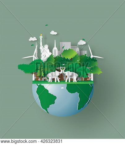 Elephants In Forest, Origami Design World Environment And Earth Day. Paper Cut And Craft.wildlife An