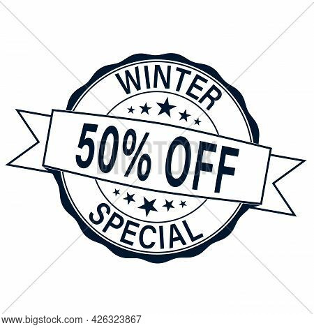 Winter Special 50 Off Rubber Stamp Vector Over A White Background.