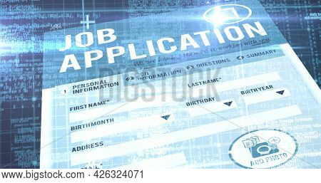 Image of screen with job application page over blue background. digital interface connection and communication concept digitally generated image.
