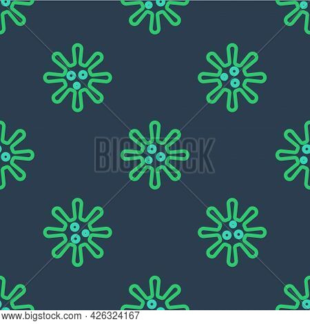 Line Bacteria Icon Isolated Seamless Pattern On Blue Background. Bacteria And Germs, Microorganism D
