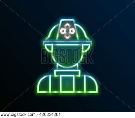 Glowing Neon Line Firefighter Icon Isolated On Black Background. Colorful Outline Concept. Vector