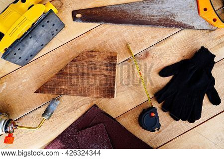 Flat Lay Woodworking Tools, Measuring, Sawing, Sanding Carpenter, Woodworking, Firing And Coating