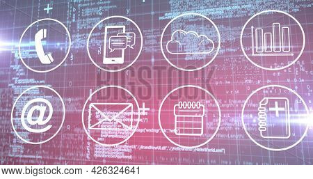 Image of multiple digital icons over data processing and grid. digital interface connection and communication concept digitally generated image.