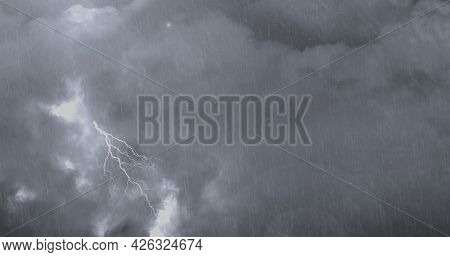 Image of thunderstorm with lightning, heavy rain and grey clouds. power of nature elements weather adversity concept digitally generated image.