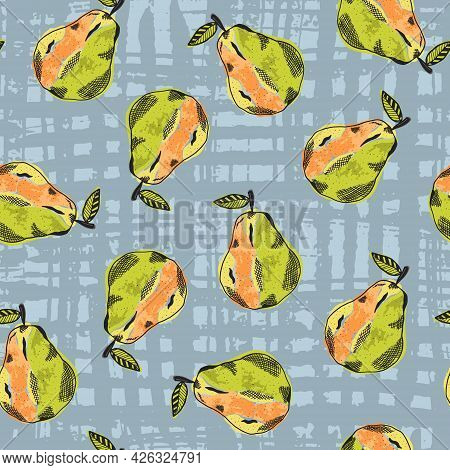 Cute Seamless Pattern With Color Sketch Pear Fruits On Striped Blue Background. Abstract Pop Art Pea