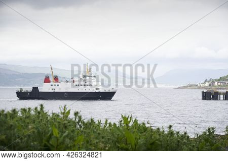 Ferry Ship Arriving At Scottish Town Of Wemyss Bay
