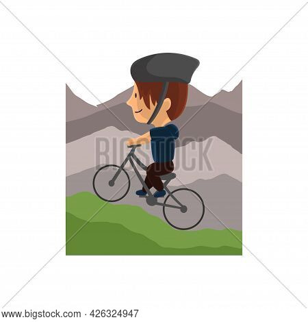 World Bicycle Day In Mountain Character Design Illustration