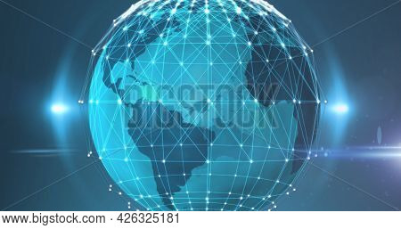Image of digital network of connections with globe. global online network technology connection communication concept digitally generated image.