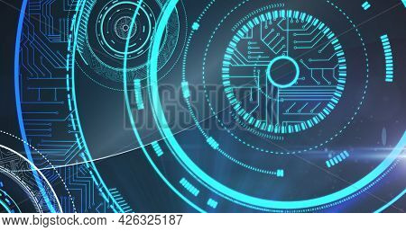 Image of digital circuit board with glowing green circles scopes. global online network technology connection communication concept digitally generated image.